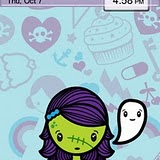 Zombie Girl Cute Institute BlackBerry Themes 1 RED Precision Zen themes for BB 81xx,83xx,88xx