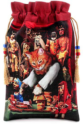 Baroque Bohemian Cats' Tarot, tarot bag drawstring pouch. Prague puppet maker. Marmalade cat.