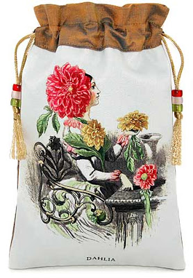 Lady Dahlia. Silk tarot bag or drawstring pouch with JJ Grandville illustration.