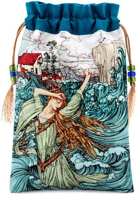 Undine the Mermaid. Satin and pure silk tarot bag, drawstring pouch based on an Arthur Rackham image.