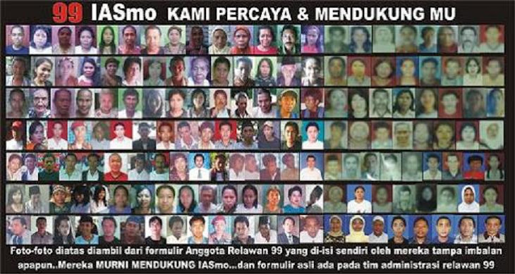 Simpatisan & Pendukung  IASmo yang telah mengisi formulir anggota relawan99