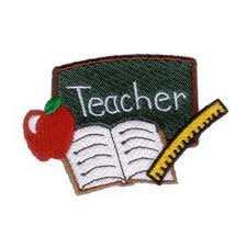 Teacher with apple, ruler, and chalk board.