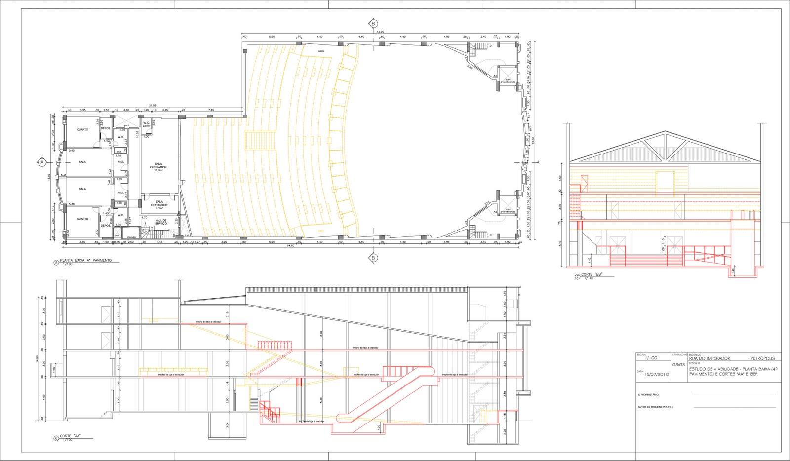 Super Dico Mattos: Trabalho desenho arquitetura - Planta baixa cinema 3 VK54