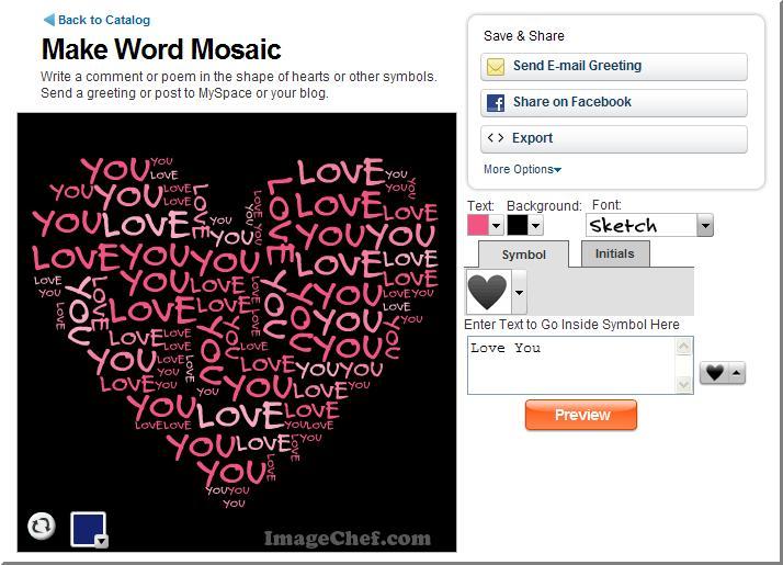 Lav ord-collager med online-værktøjet word mosaic