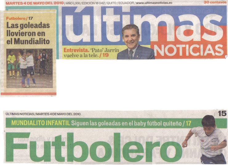 REPORTAJE DEL DIARIO ULTIMAS NOTICIAS - MARTES 4 DE MAYO 2010