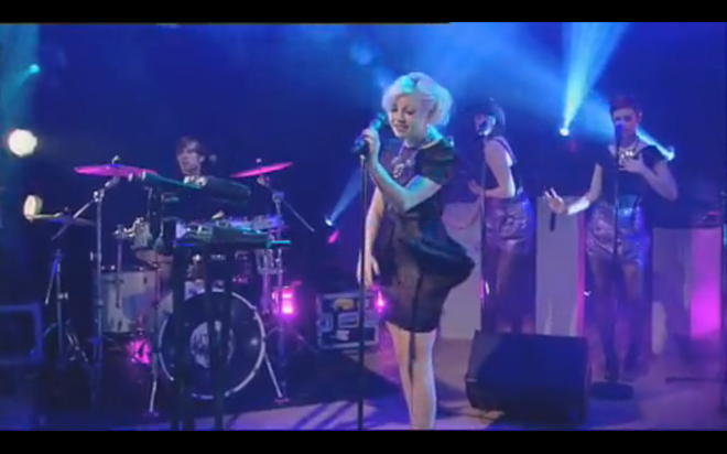 Little Boots wearing my black SS10 dress on GMTV