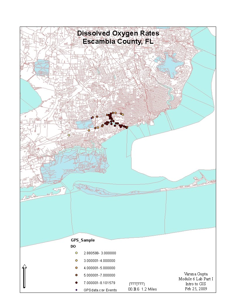 it is a graduated quantity map indicating the dissolved oxygen rates in escambia county florida the spatial data for the county and gps sample data points