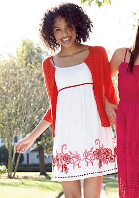 Vestido Noche/Casual - Color Blanco/Rojo