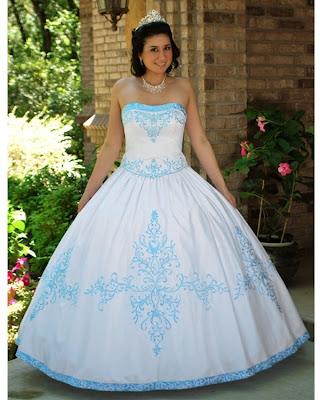 Vestido de 15 años - Color Blanco/Celeste