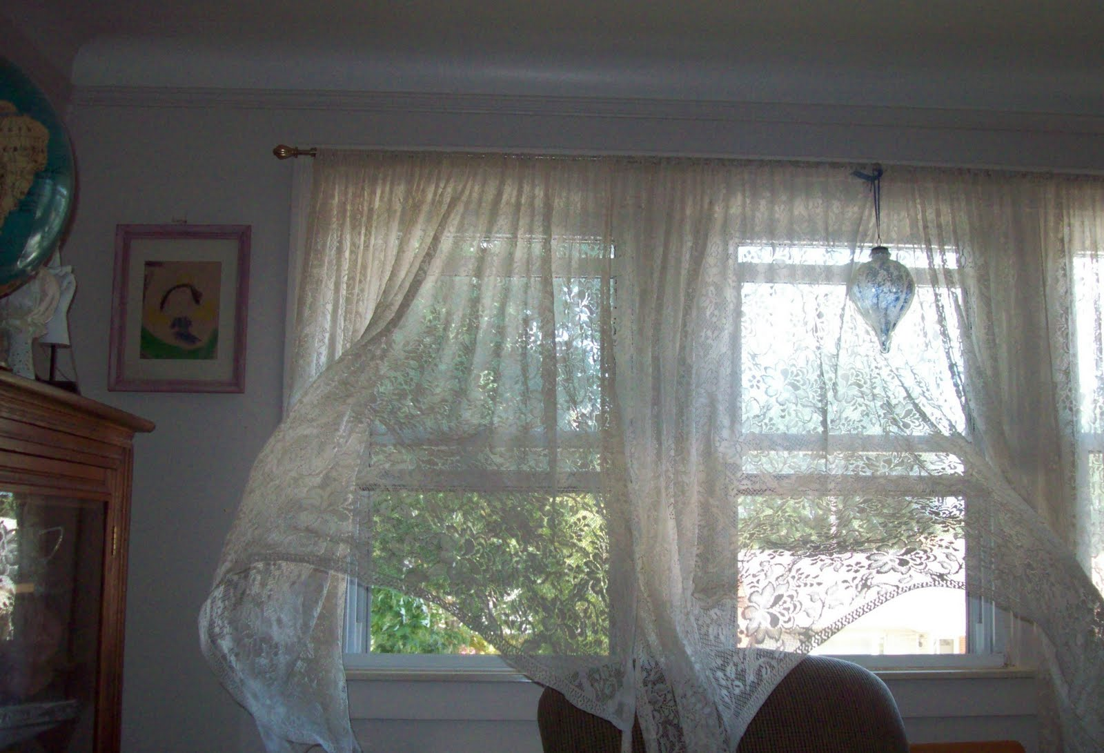 Open window with curtains blowing - Wind Curtain Wind Blowing Curtains