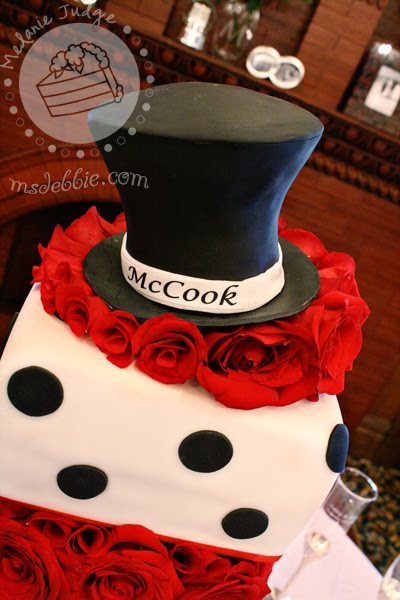 tuxedo wedding red white black cake
