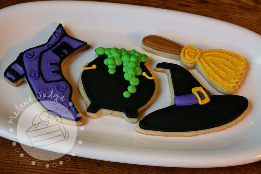 halloween sugar cookies cauldron broom witch hat