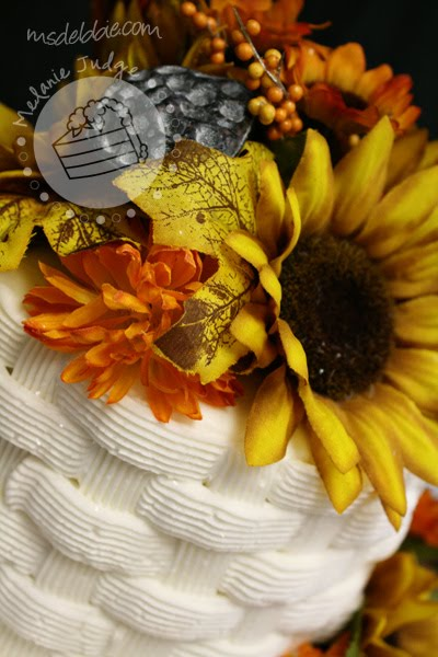 buttercream baskwetweave fall flowers cake