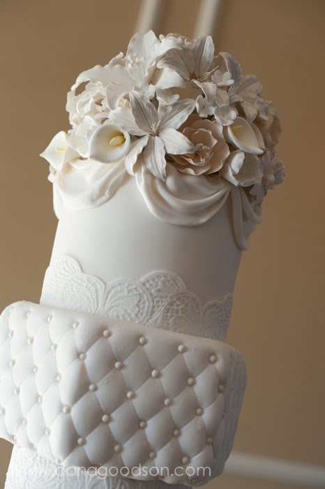 st augustine fondant white ivory lace swags quilting drapes wedding cake
