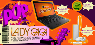 premios portatil HP Probook Ipod shuffle Suscripciones Premiun Spotify entradas concierto Lady Gaga Madrid kbueno