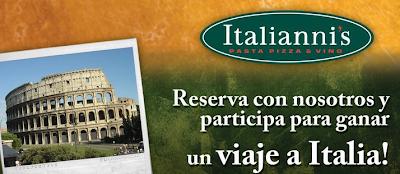 premio viaje a Italia promocion Italianni's Mexico 2010