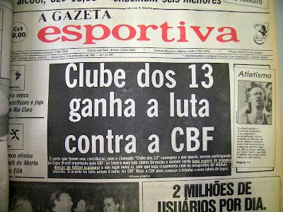 Jornal falando sobre Copa União de 87