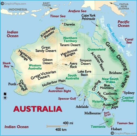 australia - an island continent: major landforms of australia
