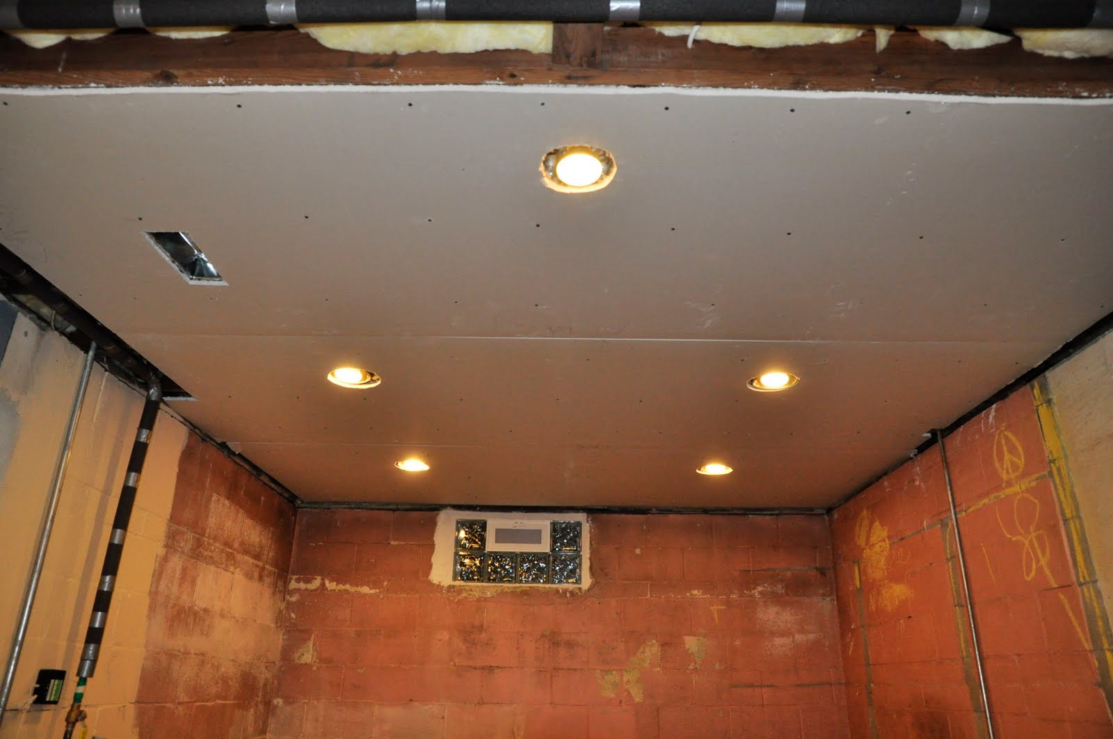 fromthefieryfurnace basement reno lights insulation ceiling