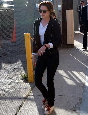 "Kristen Stewart In White Converse All-Star Core HI at ""The Jimmy Kimmel Show"