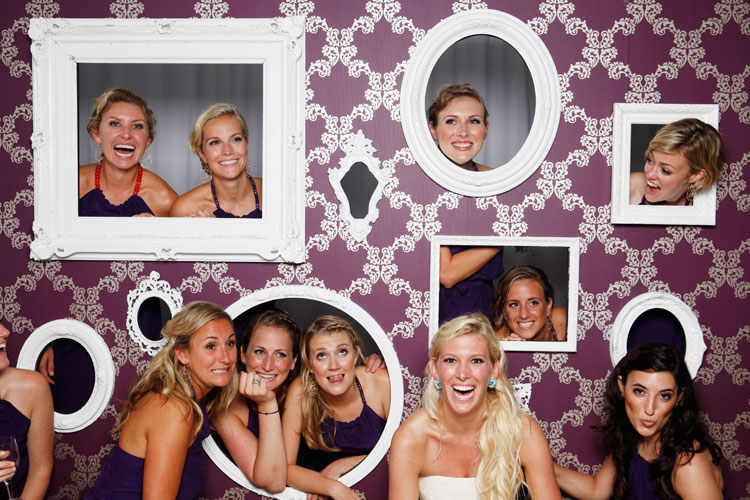 {Images via Wedding Bee & Swanky Tables}. Choose a backdrop for your booth.