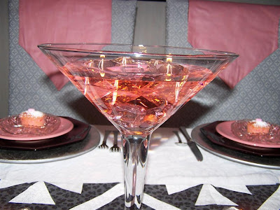 martini glass centerpieces. a giant martini glass for