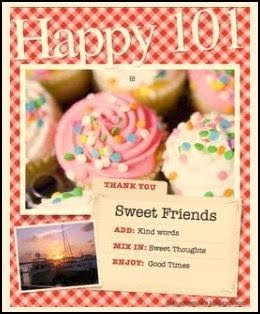picture of confetti-topped cupcakes on a red gingham background and a recipe card that says, Sweet Friends: ADD Kind Words, MIX IN Sweet Thoughts, ENJOY Good Times