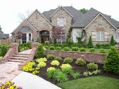 modern front yard landscaping and modern home gardens with flowers