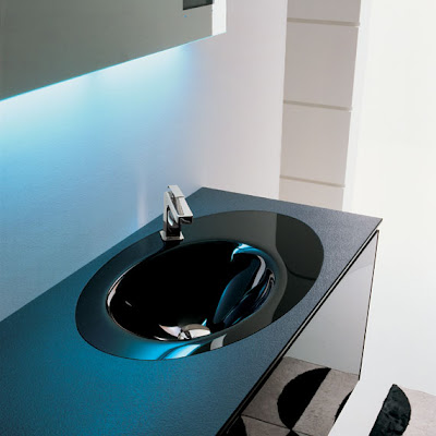 Modern bathroom interior design with blue lights