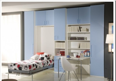 modern boys room furniture with blue cabinets and desk