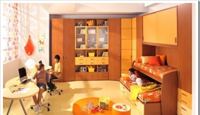 contemporary furniture for children room decorated in orange