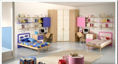contemporary teen room for boy and girl designed in blue and pink