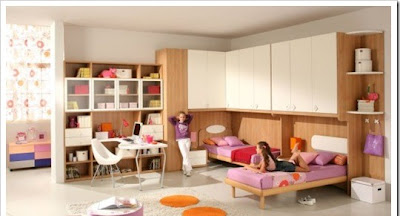 Large teen room with wooden elements designed for girls