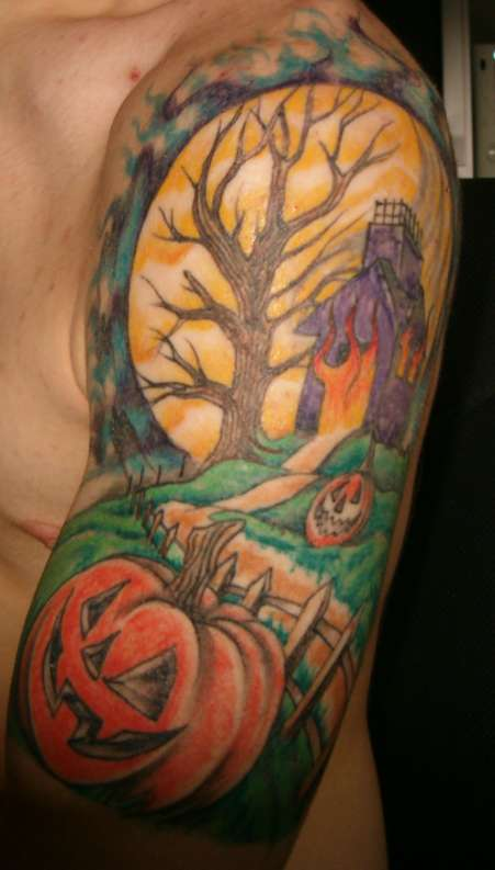 Halloween Sleeve Tattoo. Sponsored Link