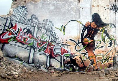 Dance Girls Design Graffiti on Wall