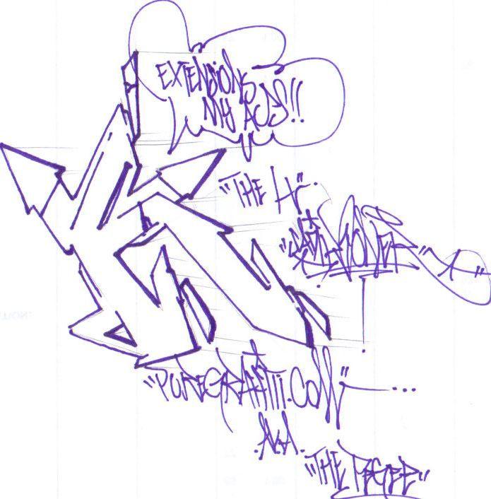 Graffiti Alphabet Letters Arrow H Sample