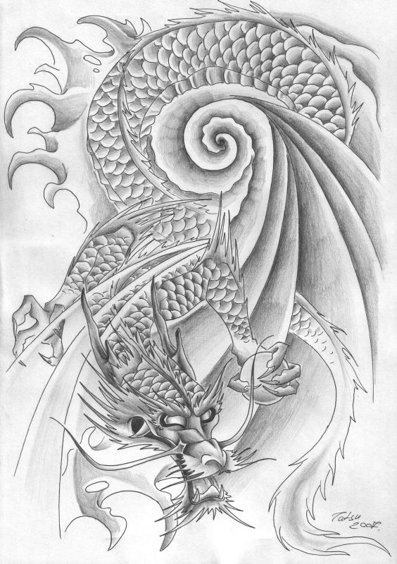 Dragon Tribal Tattoo Design final by Tatsu free tattoo flash art