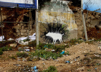White Dog Graffiti Street Art Character