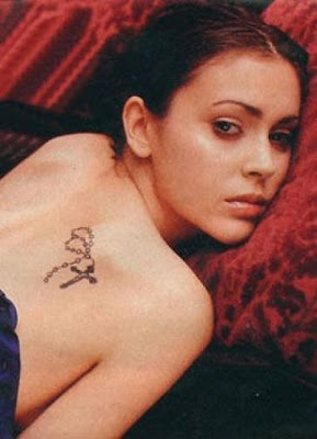 Alyssa Milano Celebrity Cross Tattoo Picture