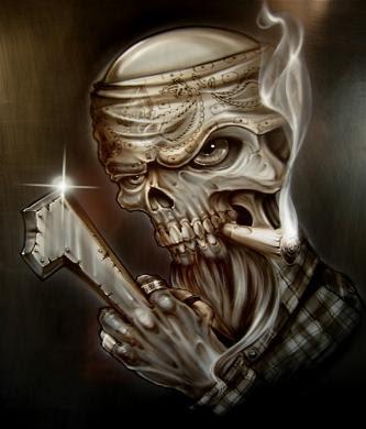 Mithos Tatto on Automotive Skull Smoke Airbrush Design   Collection Tattoo Airbrush