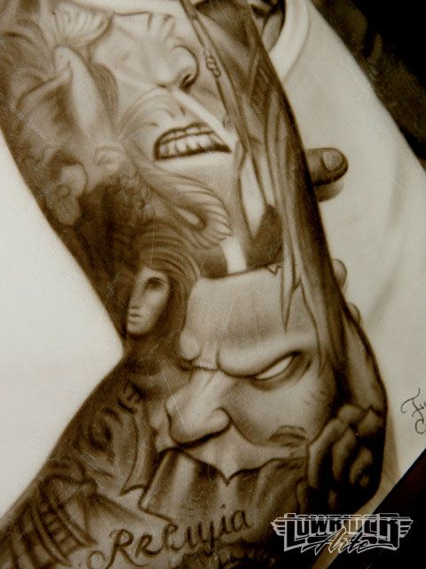 music tattoos for men. half sleeve tattoos music.