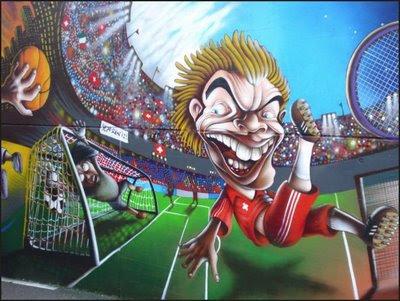 Graffiti Mural Football Player Cartoons