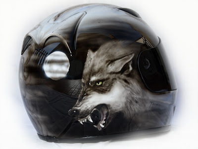 Beauty and the Wolf Airbrush Designs on Marushin Helmet 3