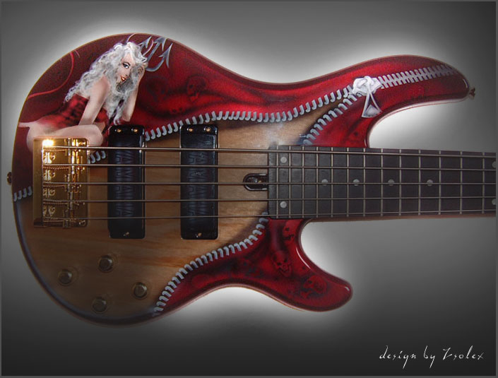 Rock n Roll Airbrush Designs on Bass Guitar