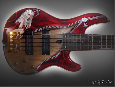 Rock n Roll Airbrush Designs on Bass Guitar 2