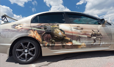 Amazing Graffiti Mural Art on Car 1