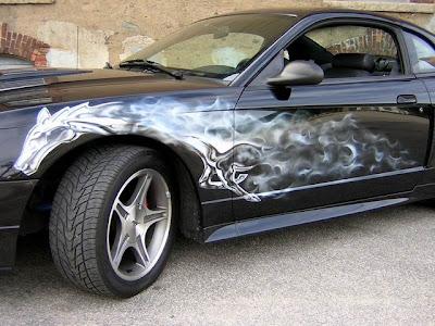Automotive Art & Design Airbrush on Mustang Car 2