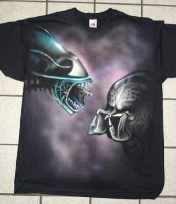 Airbrushed Alien vs Predator T-shirt