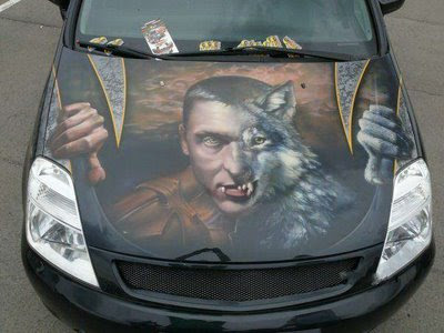 Werewolf Art Airbrush on Hood Car