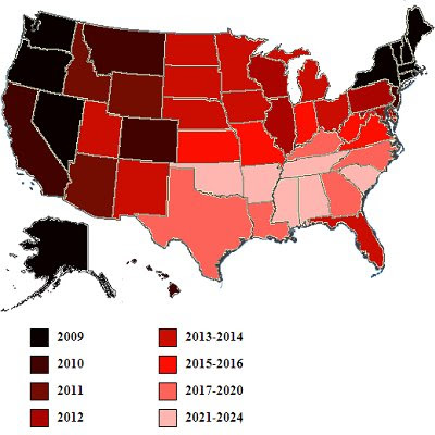 Maps: Laws against inter-racial marriage, laws against same sex marriage